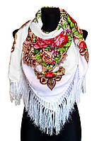 Народный платок Анна 120х120 см белый, фото 1