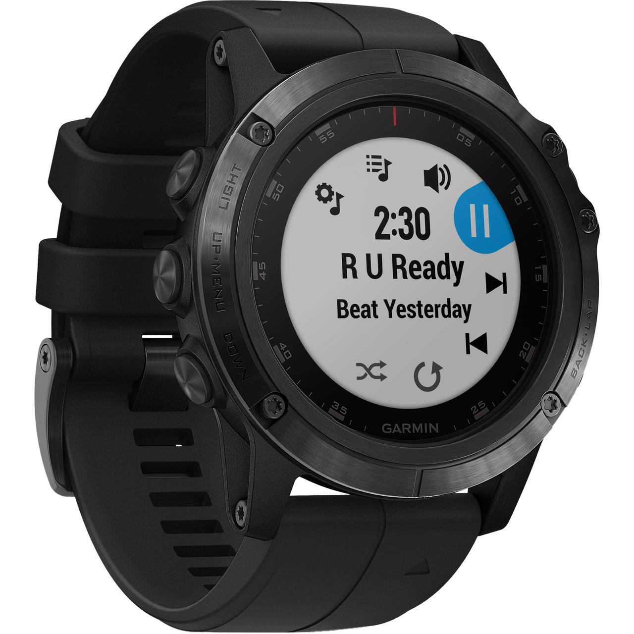 Смарт-годинник Garmin 5X Plus Sapphire, Black with Black Band з чорним ремінцем