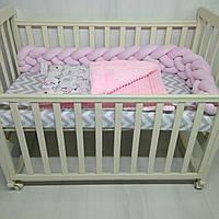 Плед детский плюшевый для новорожденных Т.М.Миля 78х110см Розовые барашки с плюшем голубого цвета
