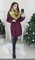 Женское теплое пальто с мехом, фото 1