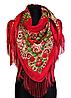 Народный платок Анна, 120х120 см, красный