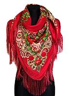 Народный платок Анна, 120х120 см, красный, фото 1