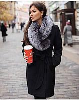 Женское зимнее кашемировое пальто с мехом