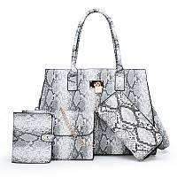 Набор элегантных женских сумок 4 в 1, экокожа под питона, серый цвет, опт, фото 1