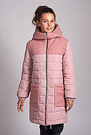 Детское пальто Каролина 7-13 лет 134-158 Пудра