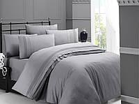 Комплект постільної білизни First Choice Square Style Gri сатиновий 200-220 сірий, фото 1