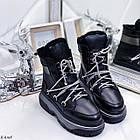 Женские зимние черные ботинки, из натуральной кожи 37 ПОСЛЕДНИЙ РАЗМЕР, фото 4