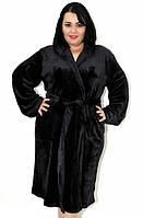 Махровый халат на запах с капюшоном черный, размер супер батал