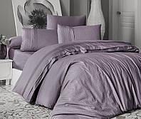Комплект постельного белья First Choice Square Style Leylak сатиновый 220-200 см сиреневый, фото 1