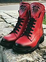 Ботильоны ботинки женские Красные демисезонные из натуральной кожи. Турция 36