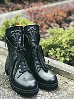 Ботильоны ботинки женские зимние-демисезонные из натуральной кожи.Черные Турция 36