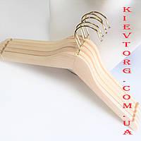 Плечики вешалки тремпеля деревянные для одежды не лакированные с золотым крючком, 44 см (Икея)