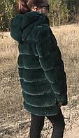 Шуба кролик рекс поперечная, с капюшоном, теплая зеленая, пудра, фиолетовая, серая Из искусственного меха, еко
