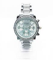 Женские наручные часы Guess (Гесс), серебро с белым циферблатом ( код: IBW255SO )