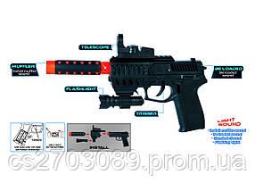 Пистолет игрушечный со светом, звуком и вибрацией, работает от батарей