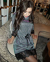 Роскошное блестящее платье мини с кружевом