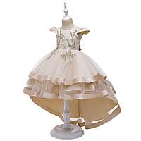 Праздничное стильное платье цвета шампанского для девочки с дорогим кружевом и стразами Ивет
