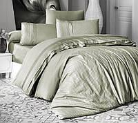 Комплект постільної білизни First Choice Square Style Yesil сатиновий 220-200 см оливковий, фото 1