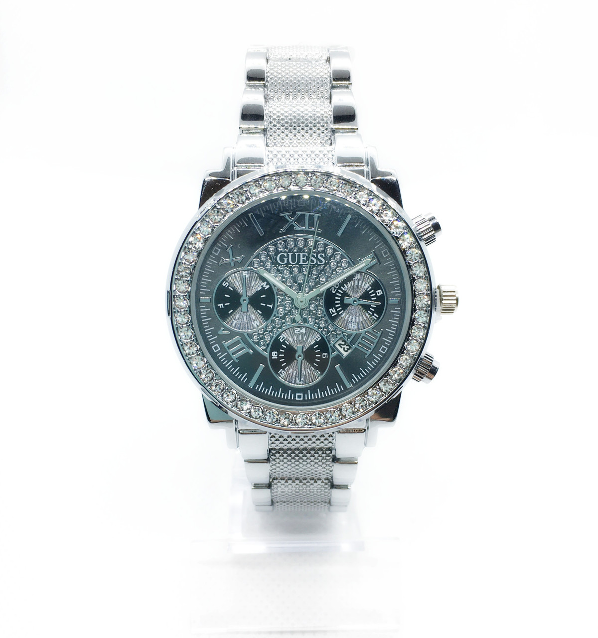 Жіночі наручні годинники Guess (Гесс), срібло з чорним циферблатом ( код: IBW255SB )
