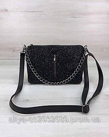 Стильная сумка-клатч Tina со вставкой черный блеск