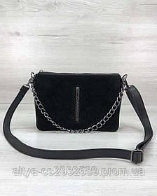Стильная сумка-клатч Tina со вставкой натуральный замш