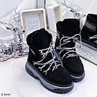 Женские зимние черные ботинки, из натуральной замши 39 ПОСЛЕДНИЙ РАЗМЕР, фото 2