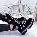 Женские зимние черные ботинки, из натуральной замши 39 ПОСЛЕДНИЙ РАЗМЕР, фото 3