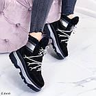 Женские зимние черные ботинки, из натуральной замши 39 ПОСЛЕДНИЙ РАЗМЕР, фото 5