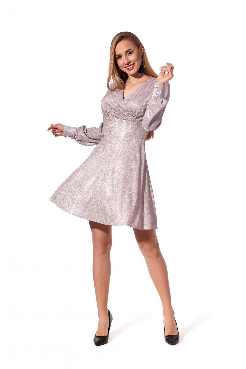 Яркое молодежное мини-платье из трикотажа с люрексом 42-48