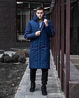 Зимняя куртка пальто мужская «Рон» (S, M, L, XL | Черная, синяя)