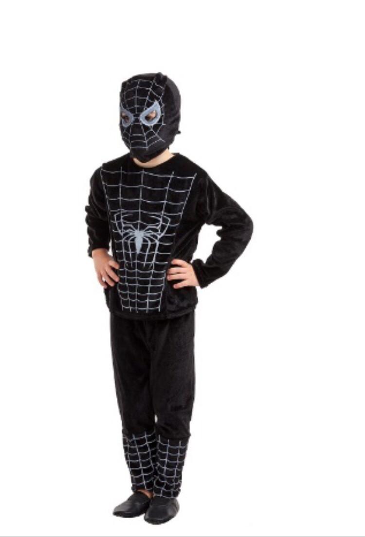 Карнавальный костюм Человек Паук велюр чёрный