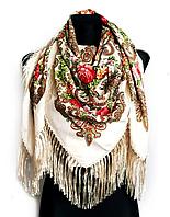 Народный платок Стефания 120х120 см молочный