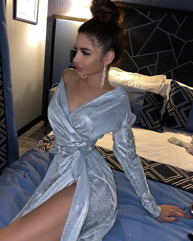 люрексовое платье миди на запах