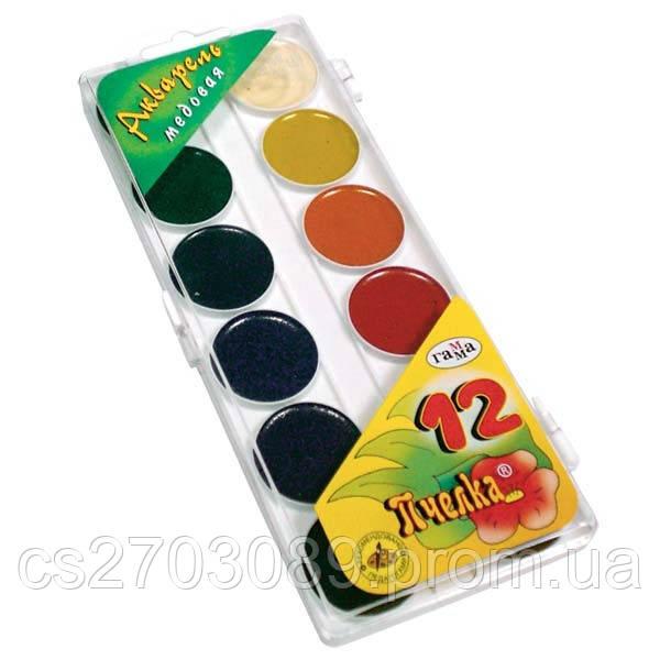 Краска акварельная 12цв Колорит без кисточки,пластиковая упаковка,медовая