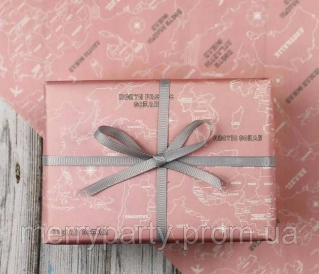 50х70 см Бумага упаковочная 80 г/м2 Карта односторонняя крафт розовая
