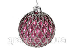 Набор елочных шаров 8см, цвет - винный с серебром, 6шт