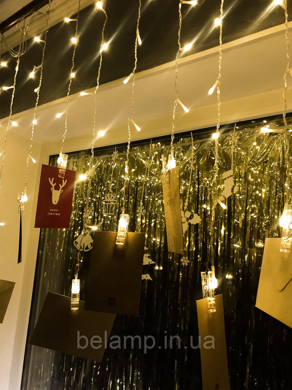 Новогодняя Гирлянда-бахрома «16 прищепок»