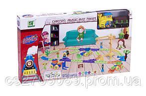 Железная дорога для малышей с перекрестком и краном, 98 элементов, фото 2