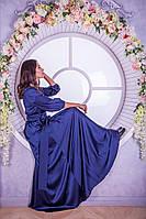 Длинное платье большого размера с рукавами фонариками (S, M, L, XL)