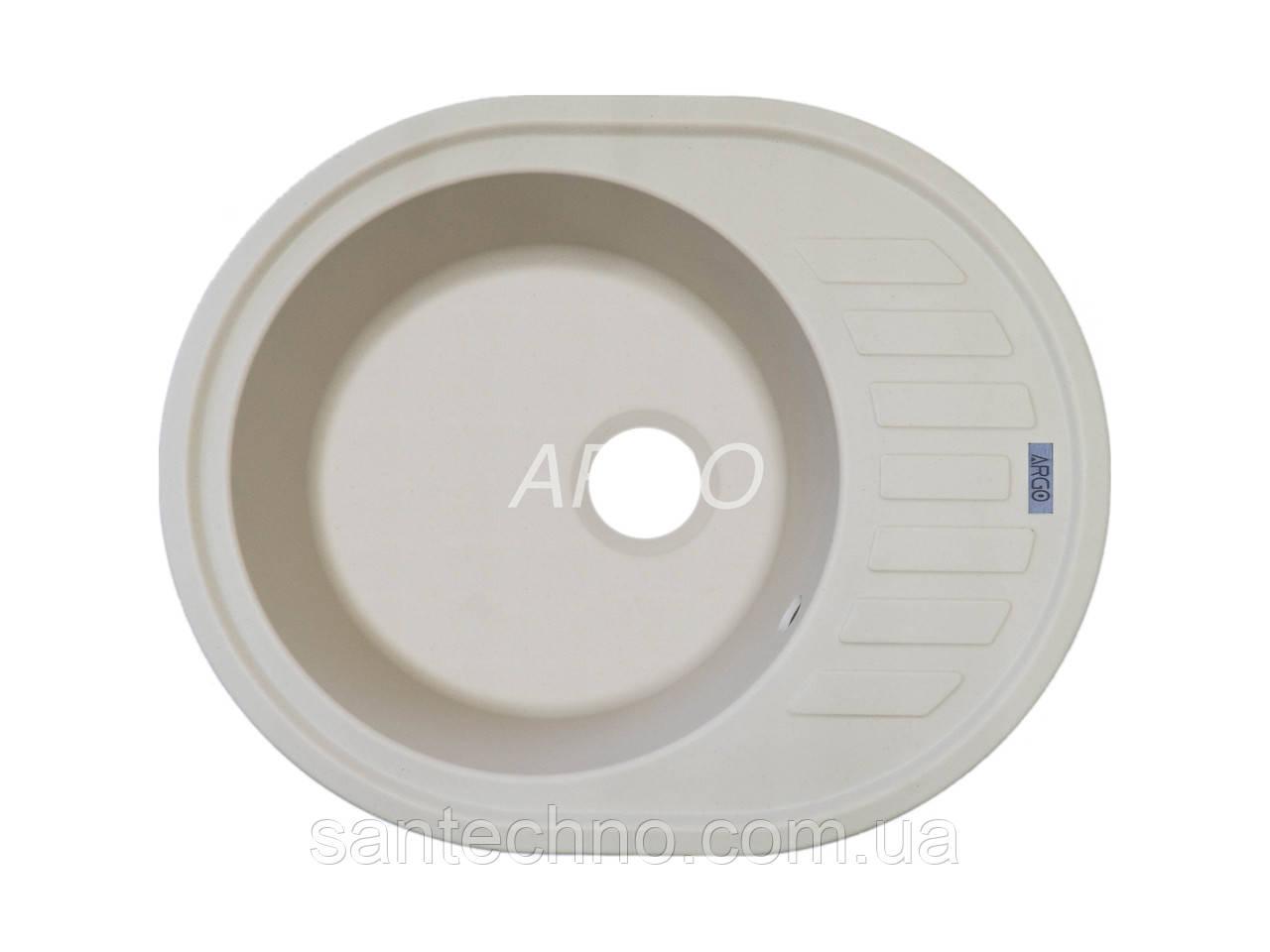 Гранитная овальная мойка для кухни Argo Ovale Ivory 620*500*200