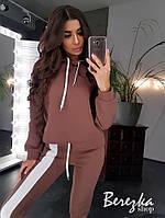 Теплый женский спортивный костюм на флисе с асимметричной кофтой и штанами на манжетах r66rt740Q