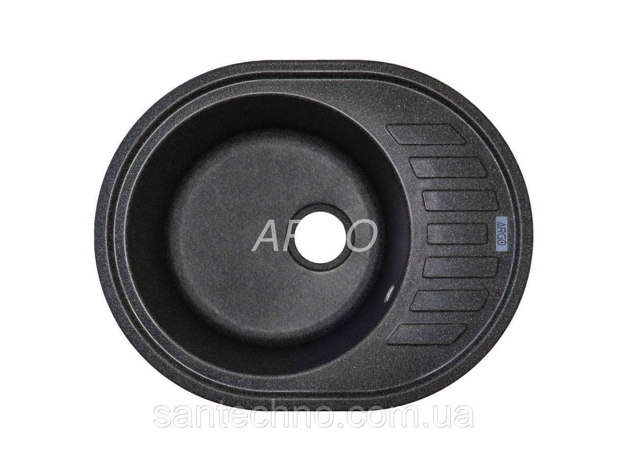 Гранитная мойка для кухни Argo Ovale Antracit 620*500*200
