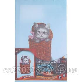 """Вышивка гладью, картина на подрамнике """"Котенок в корзинке"""""""