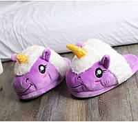 Домашние тапочки комнатные тапки для дома, Единорог Фиолетовый - 218567 (SKU777)