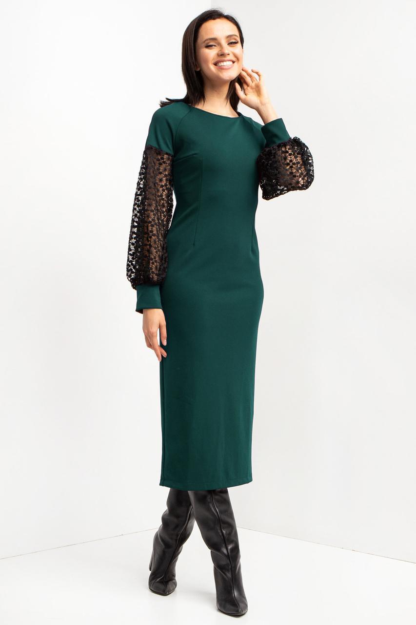 Зеленое платье миди SAMANTHA по фигуре с широкими рукавами-фонариками из черного кружева