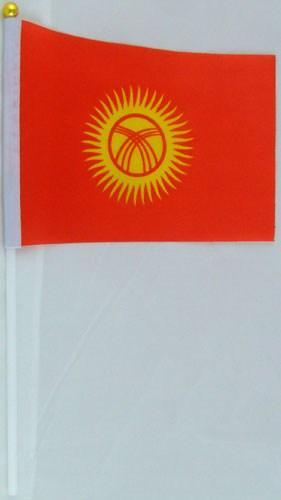 Флажок Киргизии 13x20см на пластиковом флагштоке