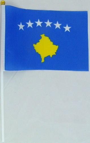 Флажок Косово 13x20см на пластиковом флагштоке