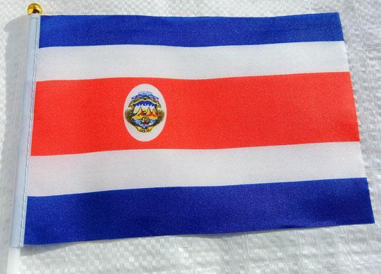 Флажок Коста-Рики 13x20см на пластиковом флагштоке