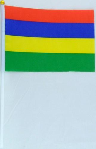 Флажок Маврикия 13x20см на пластиковом флагштоке
