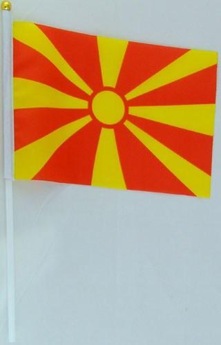 Флажок Македонии 13x20см на пластиковом флагштоке